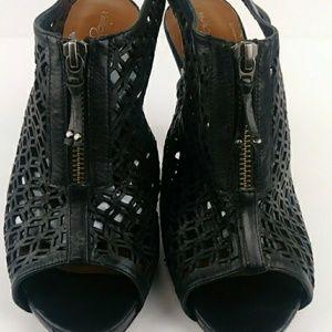 Halogen Shoes - Halogen Woven Leather Zip Peep Toe Slingback Heels